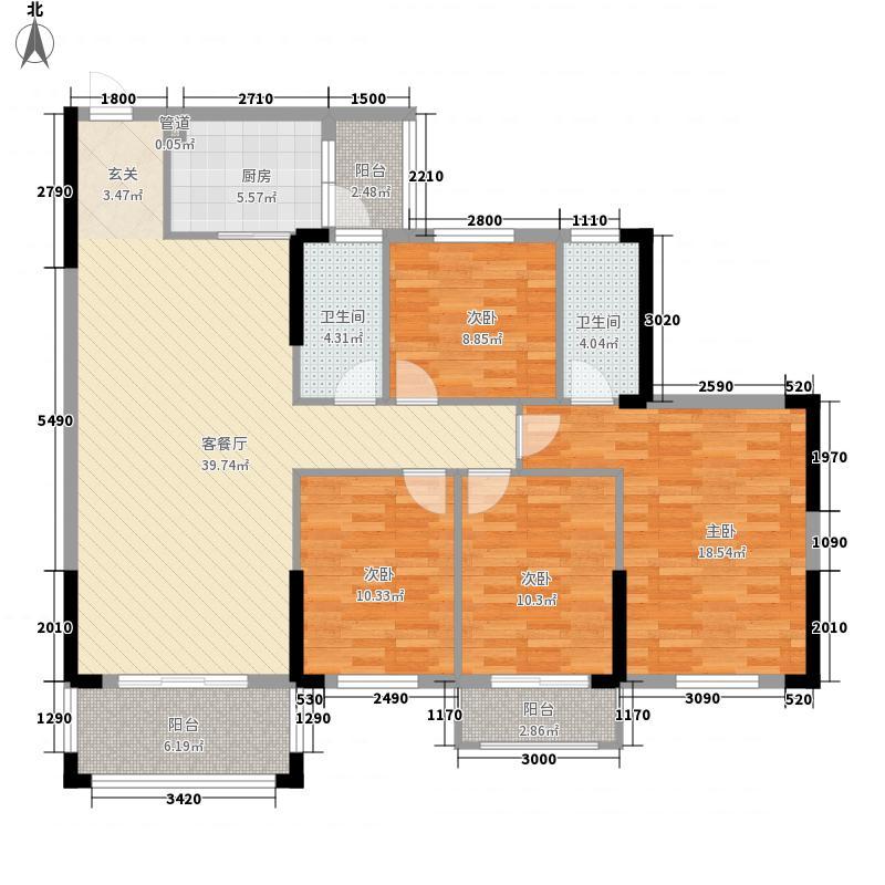 新城中央15.00㎡C3阳台户型4室2厅2卫1厨