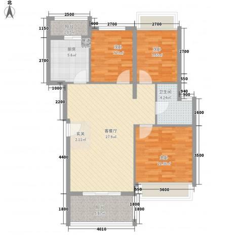 万科城市风景3室1厅1卫1厨86.00㎡户型图