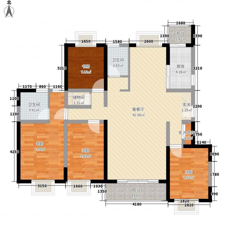 明珠家园164.40㎡15、17号楼A户型4室2厅2卫1厨
