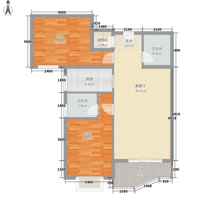 新科时代108.82㎡新科时代108.82㎡2室2厅2卫1厨户型2室2厅2卫1厨