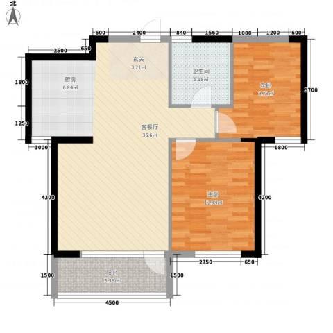 红星海青屿蓝2室1厅1卫0厨97.00㎡户型图