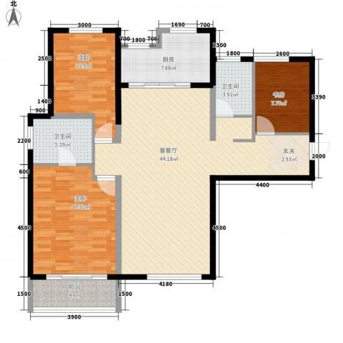 红星海青屿蓝3室1厅2卫1厨144.00㎡户型图