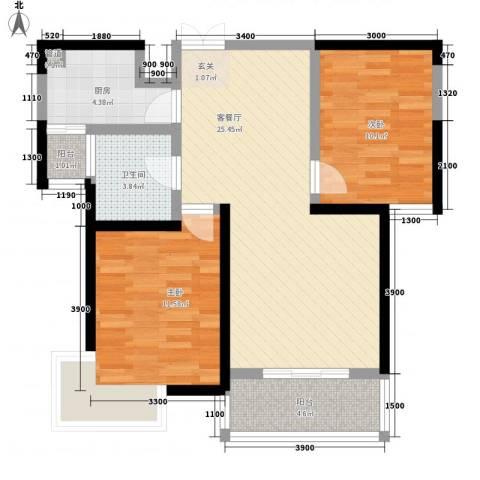 昆明花园2室1厅1卫1厨71.53㎡户型图
