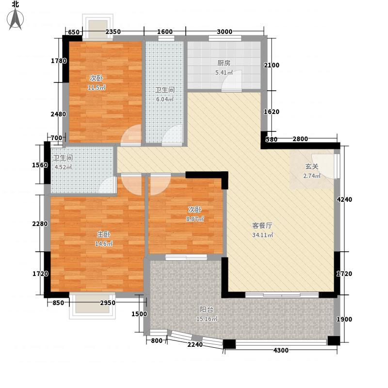 绵登・新世界花园117.40㎡B3栋05户型3室2厅2卫1厨