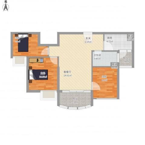 福鼎碧桂园3室1厅1卫1厨96.00㎡户型图