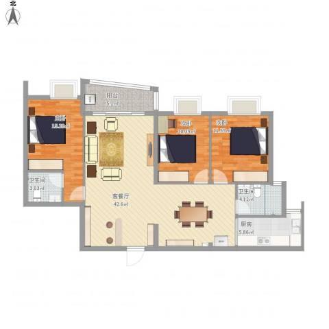 鹏华香域花园3室1厅2卫1厨134.00㎡户型图