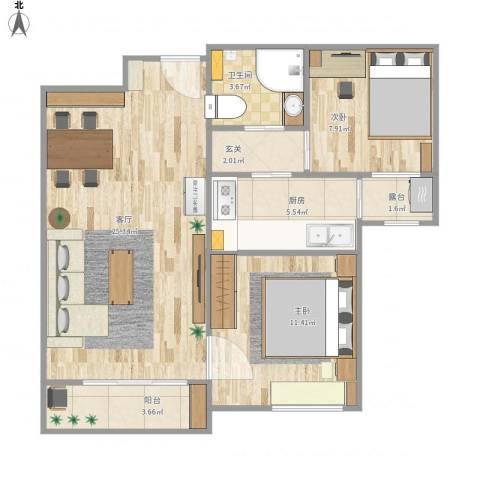 北京海航国兴城2室1厅1卫1厨83.00㎡户型图
