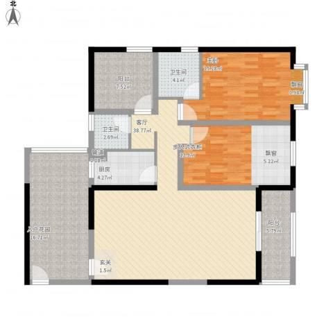 禹洲大学城1室1厅2卫1厨155.00㎡户型图
