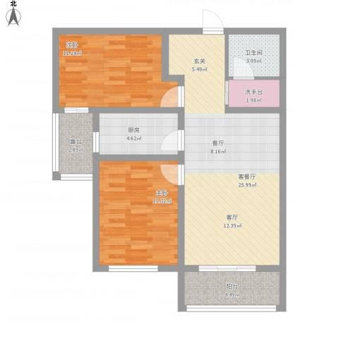 鹿城一号2室1厅1卫1厨96.00㎡户型图