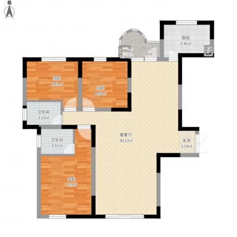 金星家园3室1厅2卫1厨126.00㎡户型图