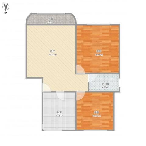 成亿宝盛家苑2室1厅1卫1厨93.00㎡户型图