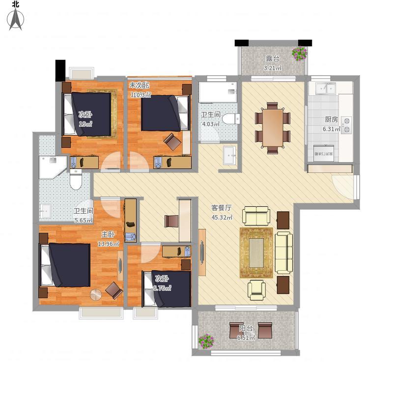 东莞_米兰公馆3号楼1-2户型三室2卫建筑面积134平方