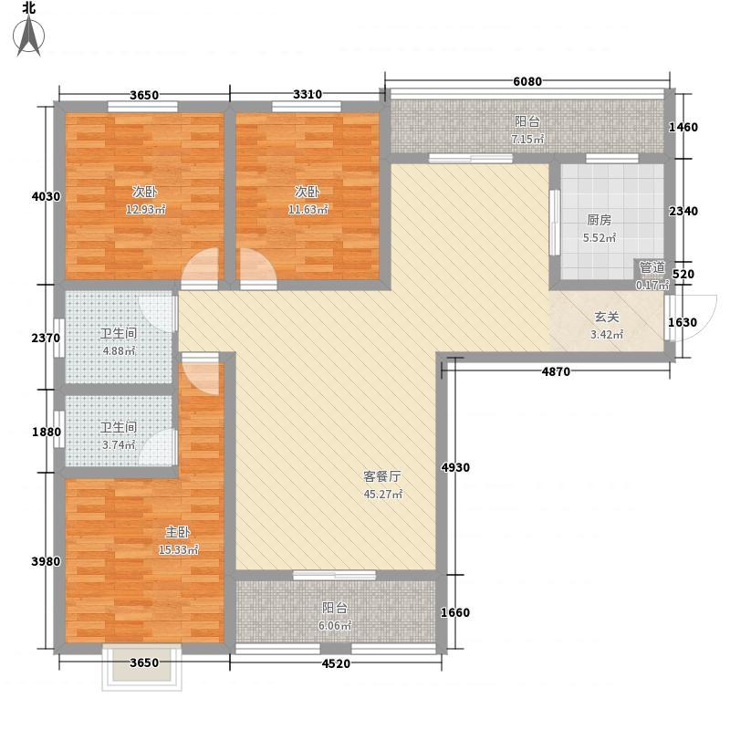 中纺佳苑・颐和铭郡16.60㎡A116096户型3室2厅2卫1厨