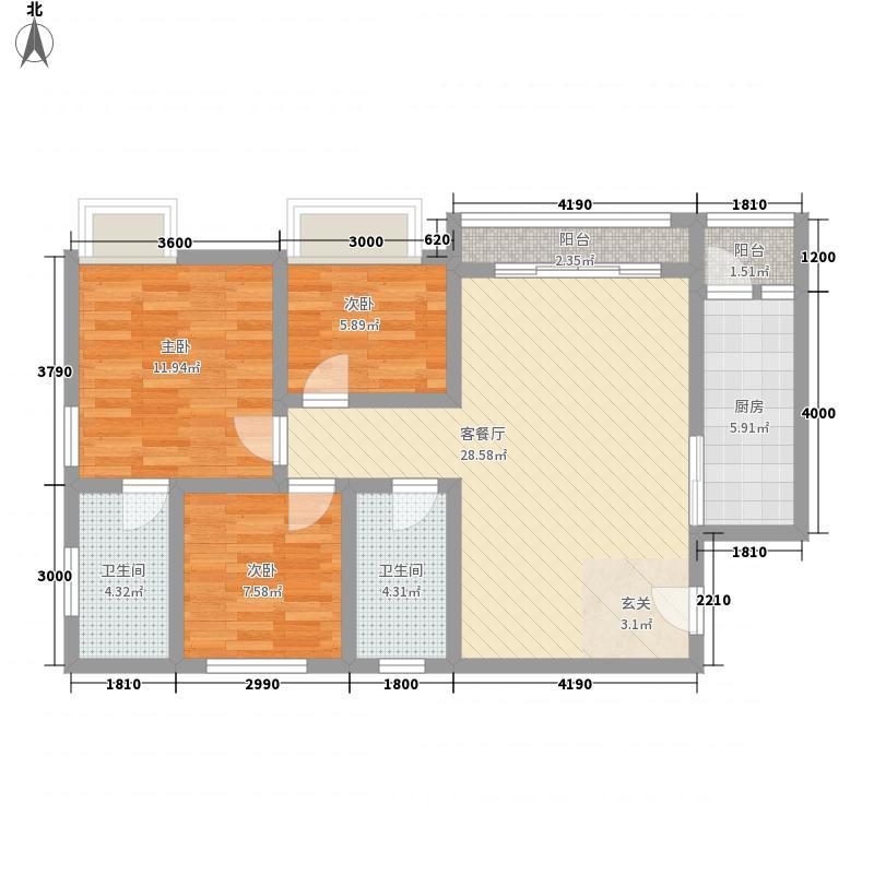 碧海龙苑23.72㎡A2户型3室2厅2卫1厨