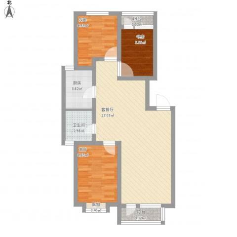米东新城3室1厅1卫1厨85.00㎡户型图