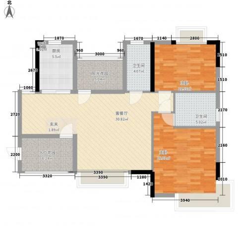 广电江湾新城2室1厅2卫1厨108.00㎡户型图