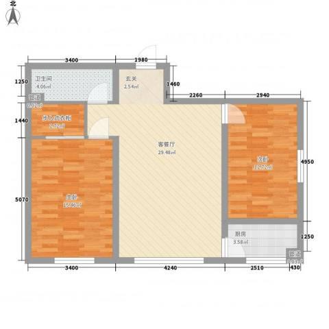 中油呼炼小区2室1厅1卫1厨97.00㎡户型图