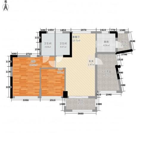 佳兆业水岸豪门2室1厅2卫1厨90.00㎡户型图