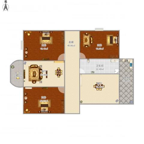 东湖花园二区3室2厅1卫1厨404.00㎡户型图