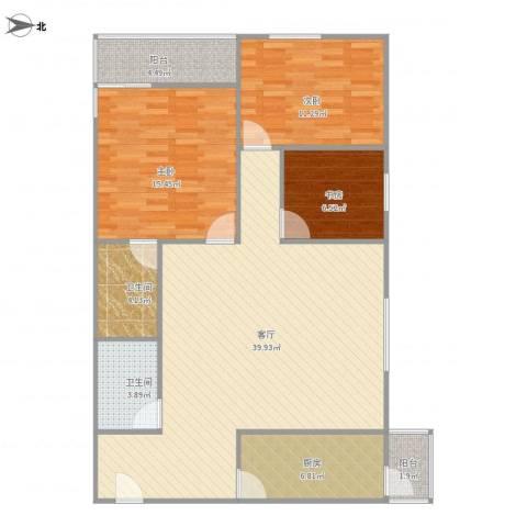 欧陆经典19号楼1001室3居两卫西北向3室1厅2卫1厨127.00㎡户型图