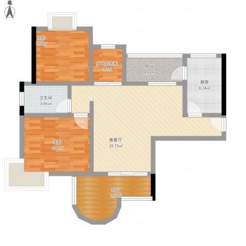 珠江华轩2室1厅1卫1厨83.59㎡户型图