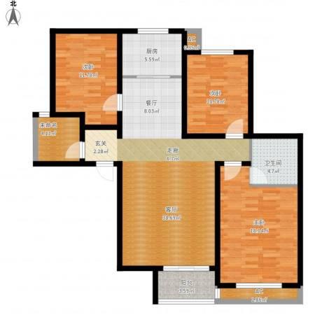 新源燕府3室1厅1卫1厨143.00㎡户型图
