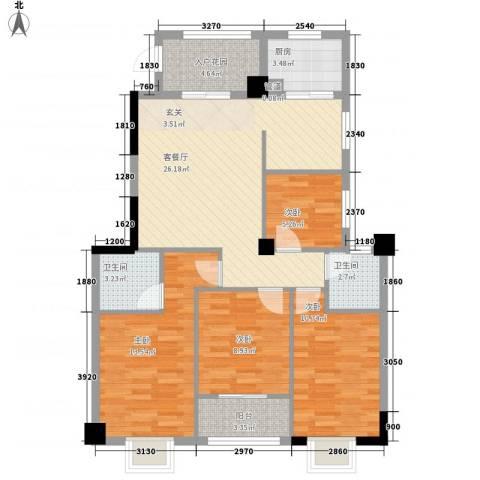 新禧家园4室1厅2卫1厨117.00㎡户型图