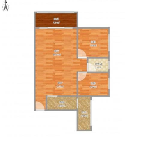 碧云天2室1厅1卫1厨69.00㎡户型图