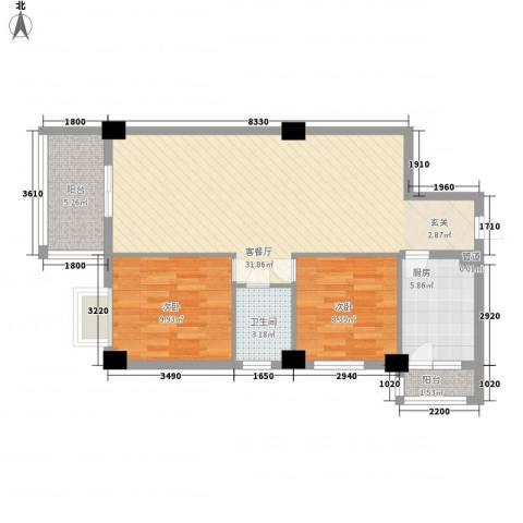 南都邻秀2室1厅1卫1厨90.00㎡户型图