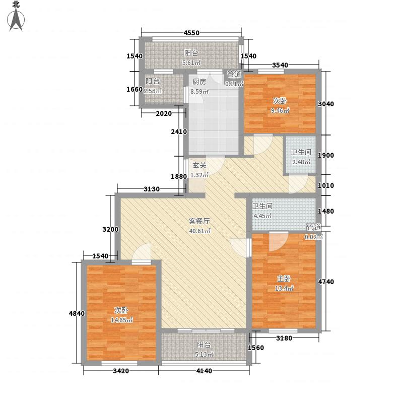 实创现代城154.31㎡A型户型3室2厅2卫1厨