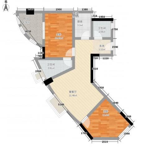 天元瑞�名苑2室1厅2卫1厨86.00㎡户型图