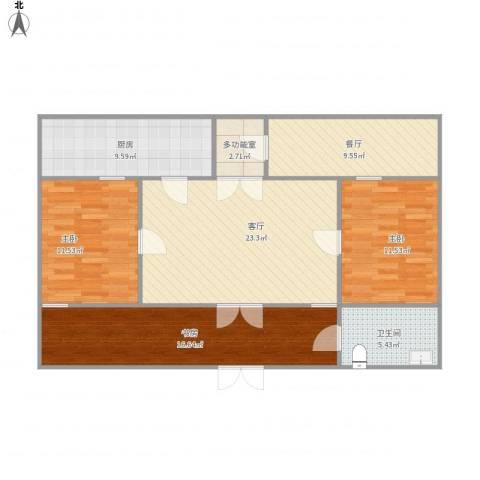 兴园小区3室2厅1卫1厨121.00㎡户型图