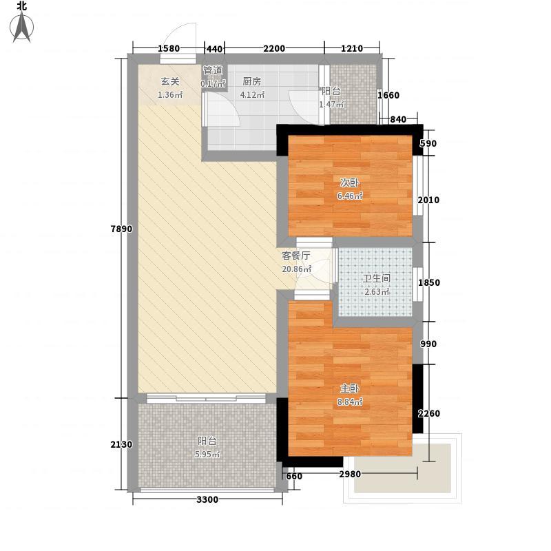 美轮・钻石广场64.36㎡A5户型2室2厅1卫1厨