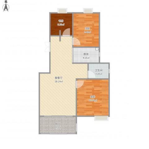 香水郡3室1厅1卫1厨94.00㎡户型图