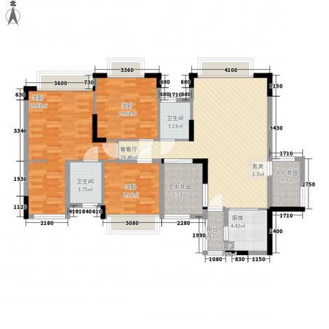 世纪城国际公馆贝丽湖3室1厅2卫1厨112.00㎡户型图