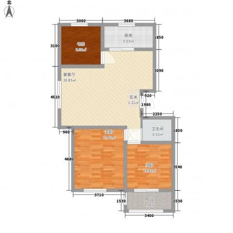 蓝湾御景3室1厅1卫1厨112.00㎡户型图