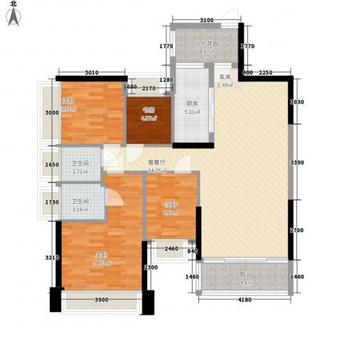 五洲家园4室1厅2卫1厨88.73㎡户型图