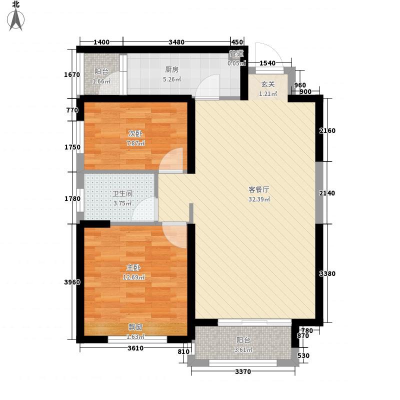安阳华强城3期6.00㎡F02户型2室2厅1卫1厨