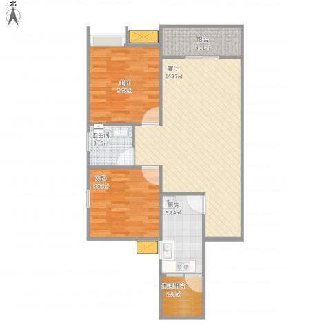 万盛区城市之光2室1厅1卫1厨80.00㎡户型图
