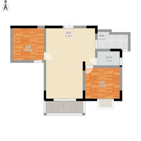 置诚公馆2室1厅1卫1厨99.00㎡户型图