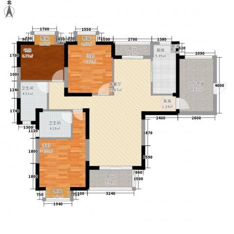 人乐居3室1厅2卫1厨137.00㎡户型图