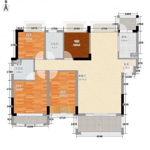 雍景家园4室1厅2卫1厨128.00㎡户型图