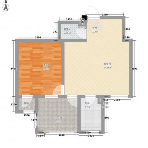 丰远・泗水玫瑰城1室1厅1卫1厨53.62㎡户型图