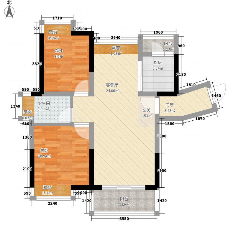 梦里水乡88.75㎡4、5、6号楼户型2室2厅1卫1厨