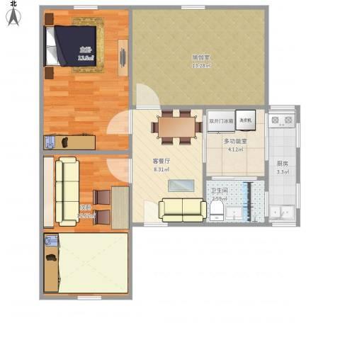 海事附小家属楼2室1厅1卫1厨77.00㎡户型图