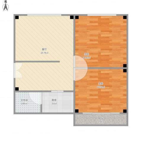 禹洲花园2室1厅1卫1厨82.00㎡户型图