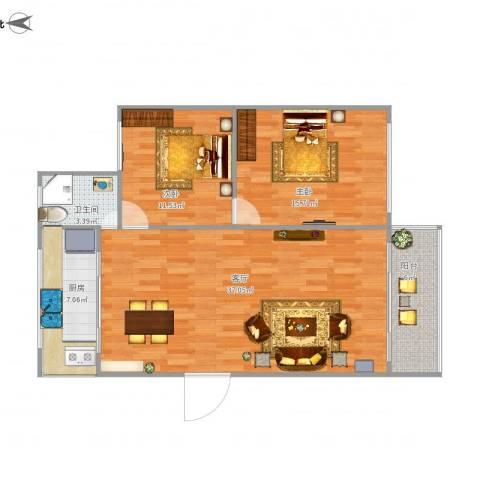 恒润新新家园2室1厅1卫1厨108.00㎡户型图