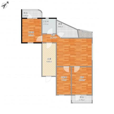 苗圃东里1室1厅1卫1厨102.00㎡户型图