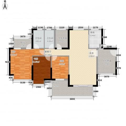 熙龙小镇3室1厅2卫1厨131.00㎡户型图