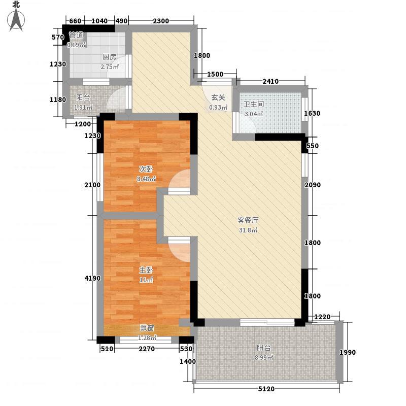 华恩・凯丽滨江86.45㎡户型2室2厅1卫1厨